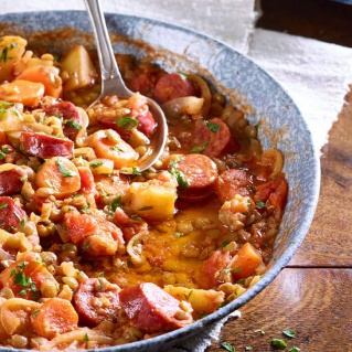 Lentil, chorizo and vegetable stew